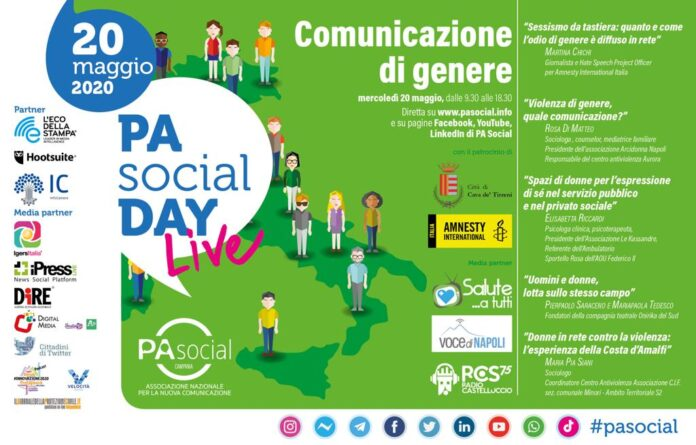 Cava – il Piano di Zona S2 il 20 maggio partecipa al #PASocialday sulla comunicazione di genere