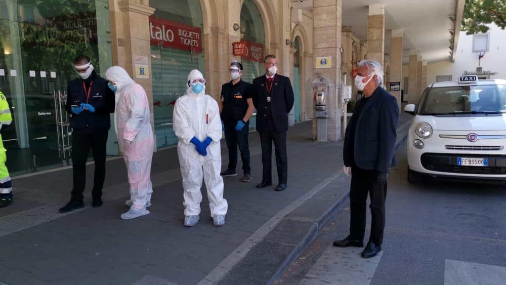 Salerno, Fase 2 – scattano i controlli in stazione e terminal bus: sopralluogo del sindaco