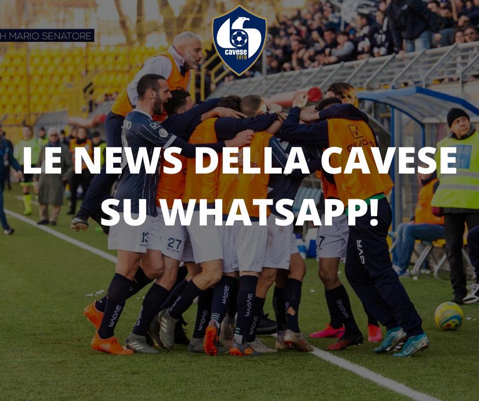 Grande novità, ricevi tutte le news della Cavese su Whatsapp!