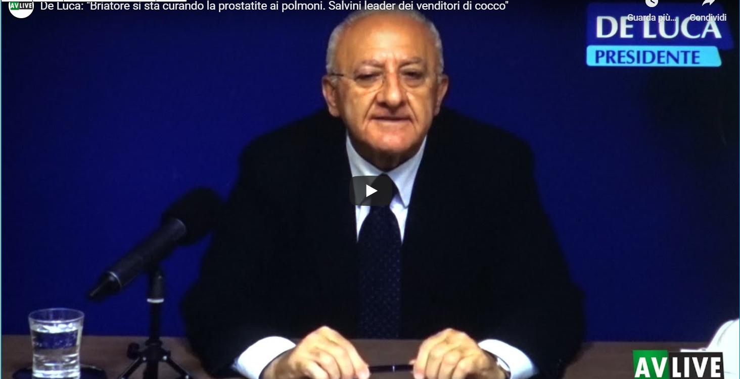 """De Luca: """"Briatore si sta curando la prostatite ai polmoni. Salvini leader dei venditori di cocco"""", il Video"""