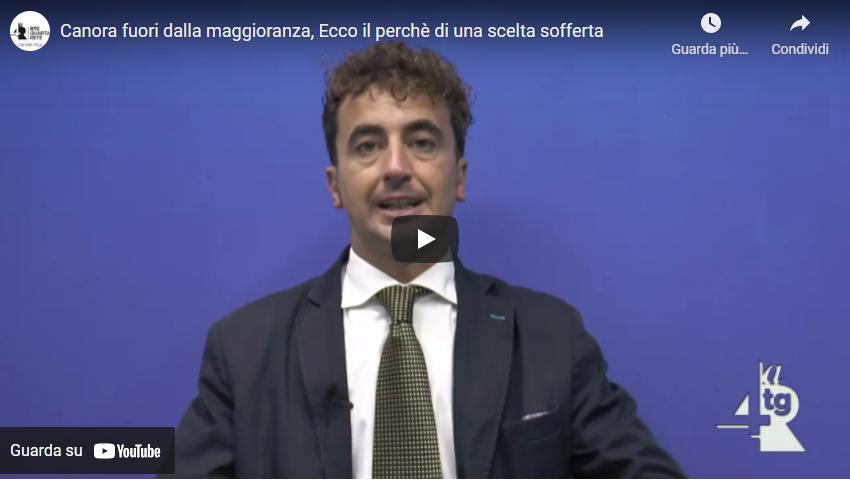 """Eugenio Canora fuori dalla maggioranza: """"Ecco i motivi di una scelta sofferta"""" (VIDEO)"""